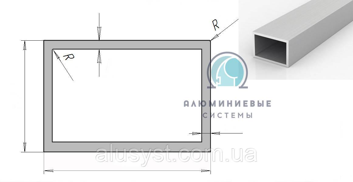 Труба  20х10х1,5 прямокутна алюмiнiева / б.п.