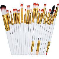 Набор кисточек  для макияжа из 20 шт цвет белый с золотом