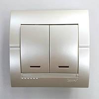 Выключатель 2-клавишный жемчужно-белый металлик с подсветкой Deriy Lezard