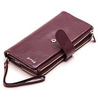 Женский кошелек клатч кожаный бордовый BUTUN 022-004-002