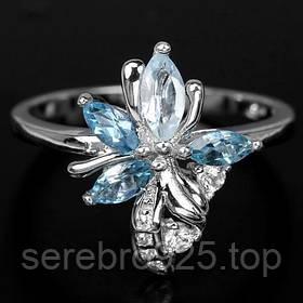 Серебряное кольцо с blue sky топазом 18 р,