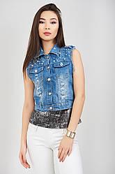 Жилетка джинсовая женская короткая модная