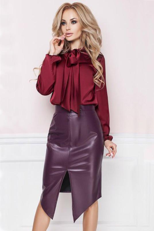 Бордовая кожаная юбка - Эстель -