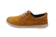 Мужские мокасины с натуральной кожи Multi-Shoes Perforation 9753 Ginger р. 40 41 43 44 , фото 1