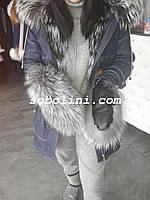 Варежки из меха норвежской чернобурки с натуральной кожей, фото 1