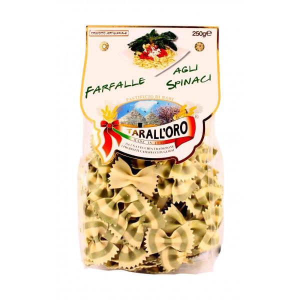 Итальянские макароны бабочки цветные со шпинатом Farfalle «Tarall'Oro», 250 гр.