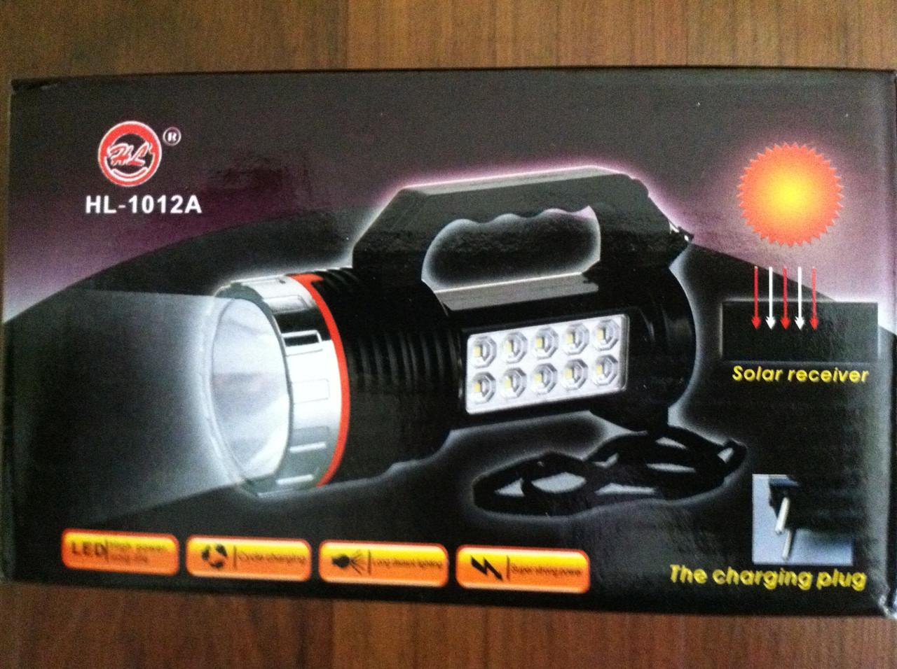 Фонарь аккумуляторный лампа с солнечной батареей HL-1012A   НОВИНКА !!!