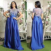 """Атласное длинное выпускное, вечернее платье в пол """"Нимфа"""", фото 1"""