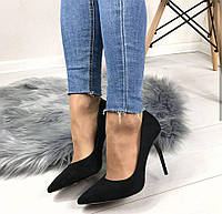 Туфли женские лодочки недорого черный замш леопардовая подошва
