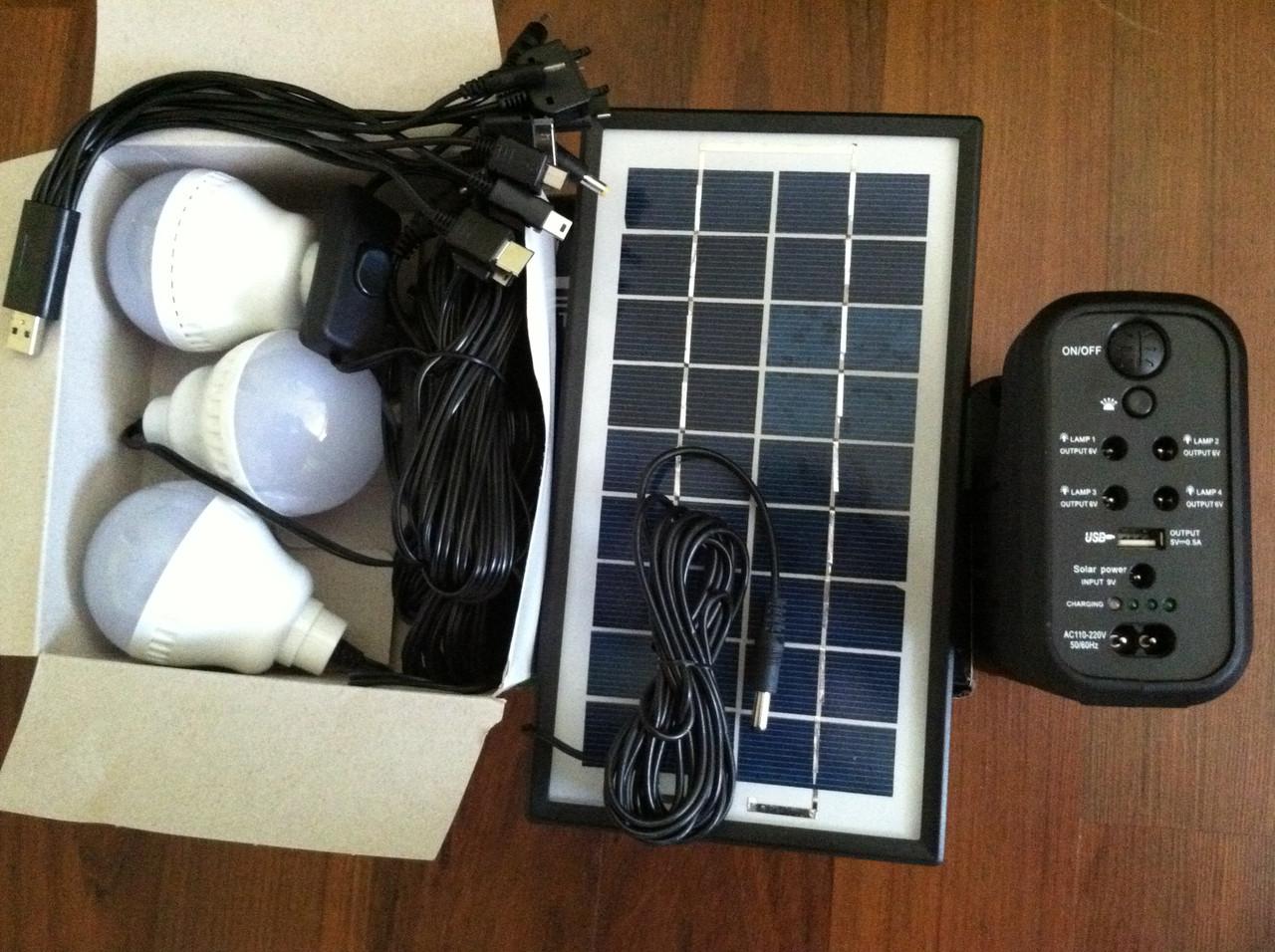 Набір Ліхтар акумуляторний сонячна батарея 3 LED лампочки