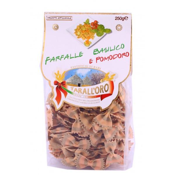 Итальянские макароны бабочки цветные с помидорами и базиликом Farfalle «Tarall'Oro», 250 гр.