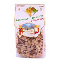 Итальянские макароны бабочки цветные с помидорами и базиликом Farfalle «Tarall'Oro», 250 гр., фото 1