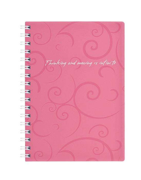Записная книга блокнот Buromax Barocco А6 80 л клетка на пружине розовый (BM.2589-610)