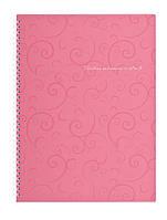 Записная книга коледж-блок А4 Buromax 80 л. клетка пласт. обл. спираль розовый Barocco BM.2446-610