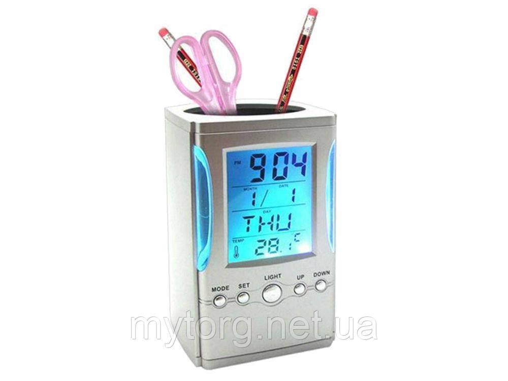 Товар имеет дефект Подставка под ручки с часами, датой, термометром Reloj Despertador Уценка №322 Уценка!