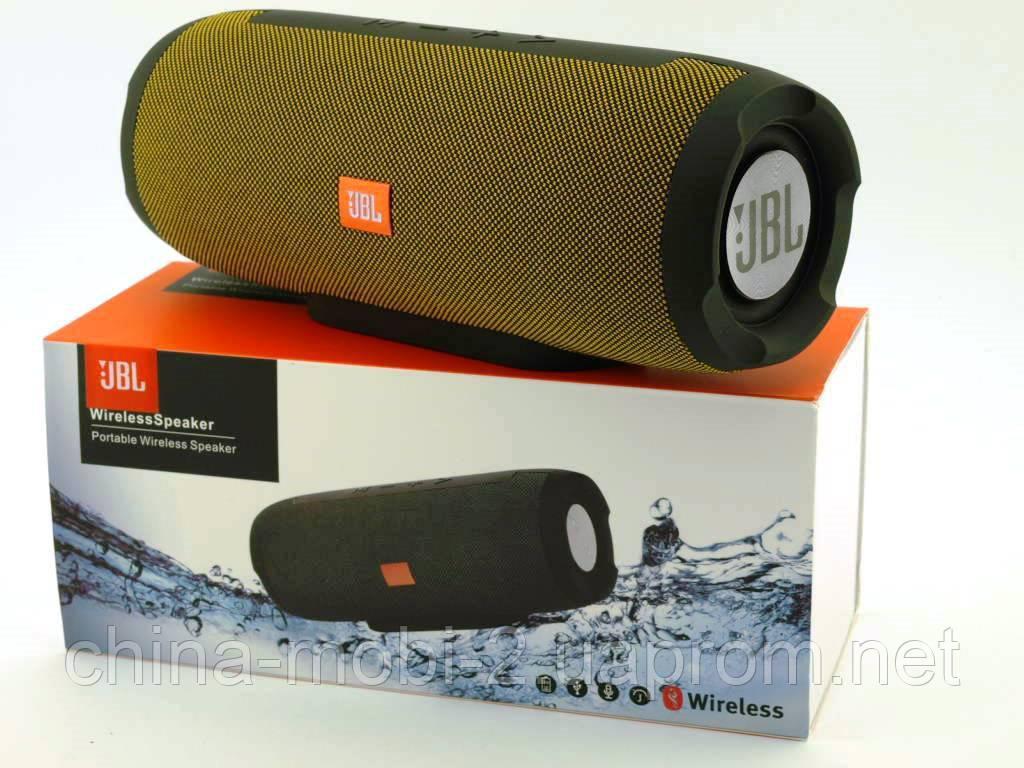 JBL Charge E11 10W копия, Bluetooth колонка c FM MP3, черная с желтым