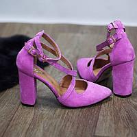 Модные туфли из натуральной замши ярко  розовые с ремешками , фото 1