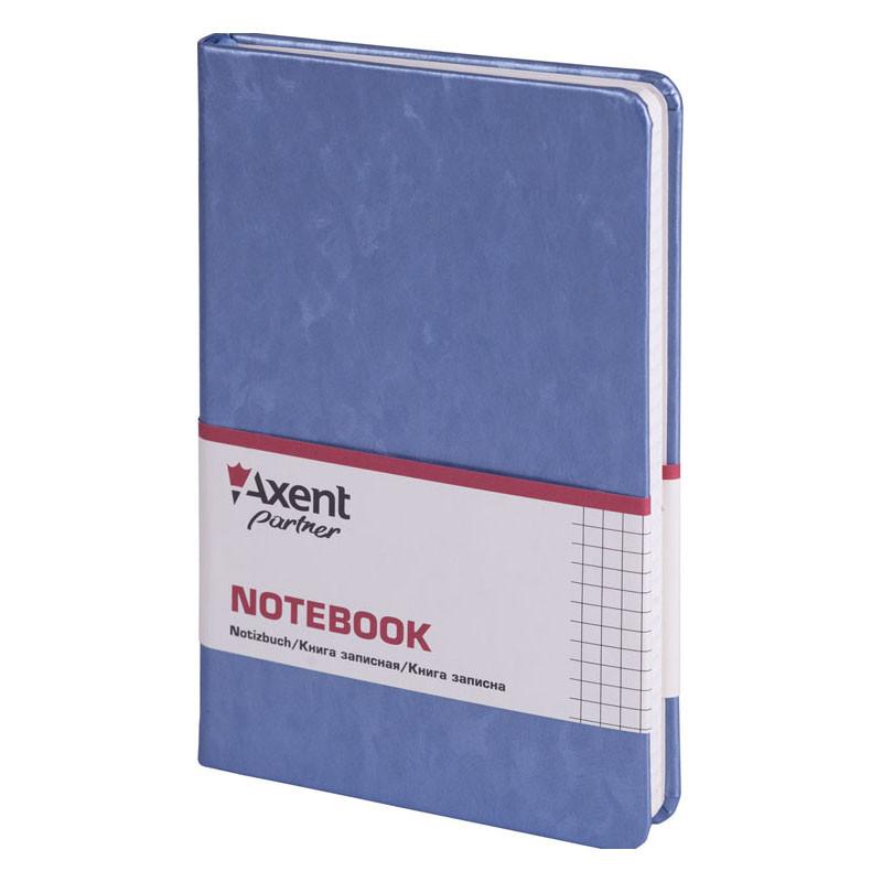 Записная книга блокнот Axent 125х195мм 96л клетка,тв. обл.,синий Partner Jazz металл 8207-14-A