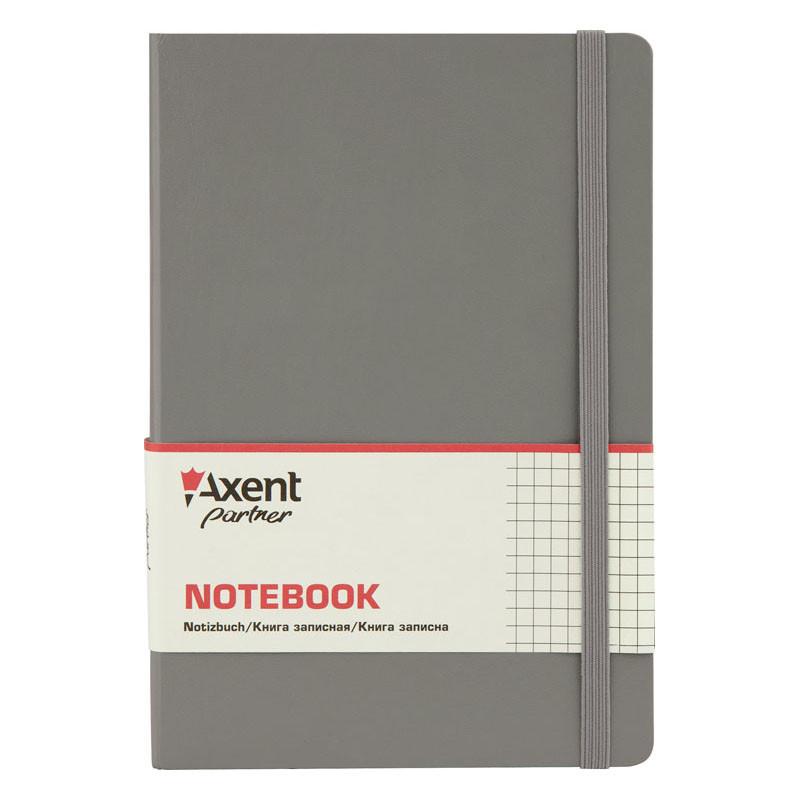 Записная книга блокнот Axent 130х210мм 112л клетка,тв. обл.,серый Partner Pro 8204-03-A