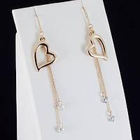 """Восхитительные серьги """"Сердце"""" с кристаллами Swarovski, покрытые золотом 0780"""