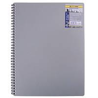 Записная книга блокнот А4 Buromax 80 л. клетка пласт. обл. спираль серый CLASSIC BM.2446-009