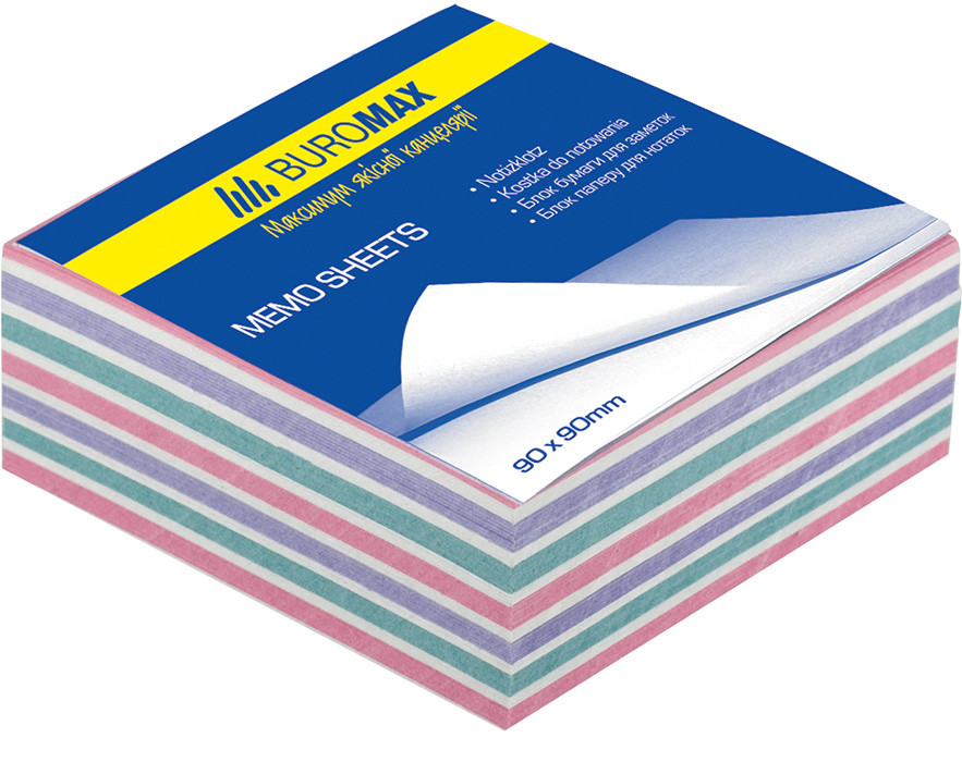 Блок бумаги для заметок непроклеенный Buromax 80х80х30мм ассорти цветов BM.2253