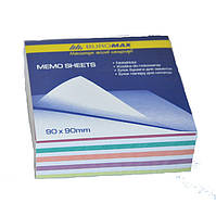 Блок бумаги для заметок непроклеенный Buromax 90х90х30мм ассорти цветов BM.2257