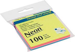 Блок бумаги для заметок липкий слой Buromax 76x76мм 100л ассорти цветов неон BM.2312-97