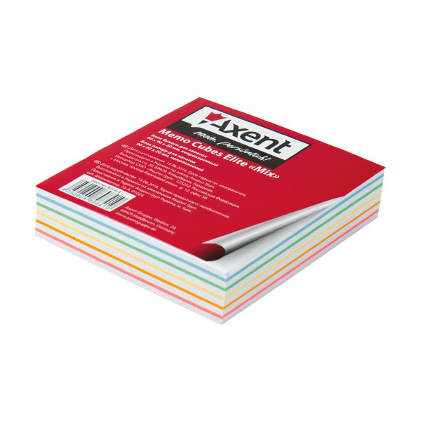 Блок бумаги для заметок непроклеенный Axent 90x90x20мм ассорти цветов 8014-A