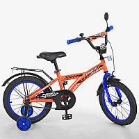 Детский велосипед Profi. Диаметр 16 дюйм. Racer, оранжевый. Звонок, доп.колеса. T1635