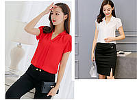 Женская повседневная блуза с коротким рукавом белая и красная