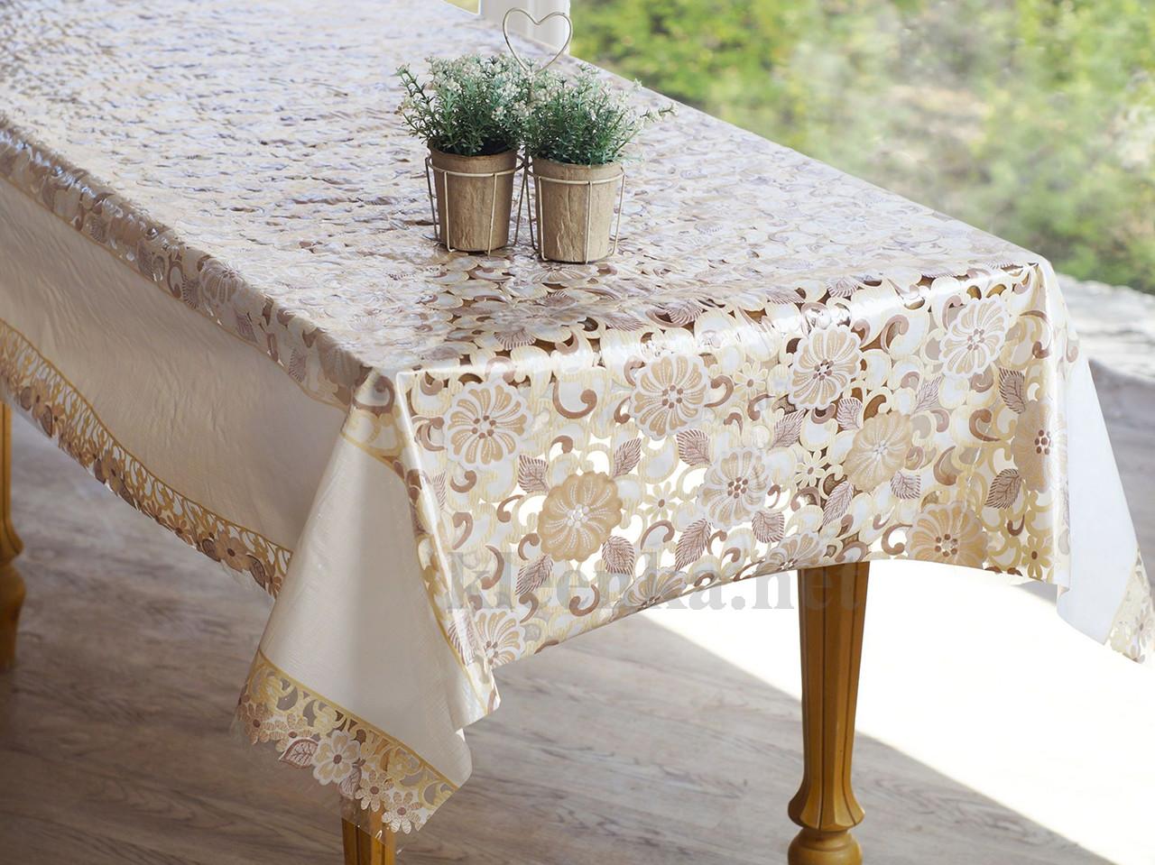Скатерть клеенчатая на праздничный стол Ажур