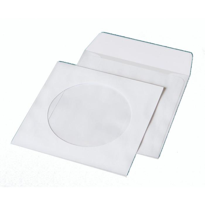 Конверт для CD 250х353мм Куверт бел. без клея 80 г/м2 термоупак. с окном 6108_50