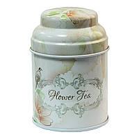 Металлическая баночка для чая и кофе Старый стиль Цветочный чай, 75г ( банка для сыпучих )