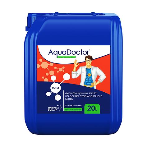 Жидкий хлор. AquaDoctor C-15L 20 л. Дезинфектант жидкий на основе хлора. Химия для бассейнов, фото 2