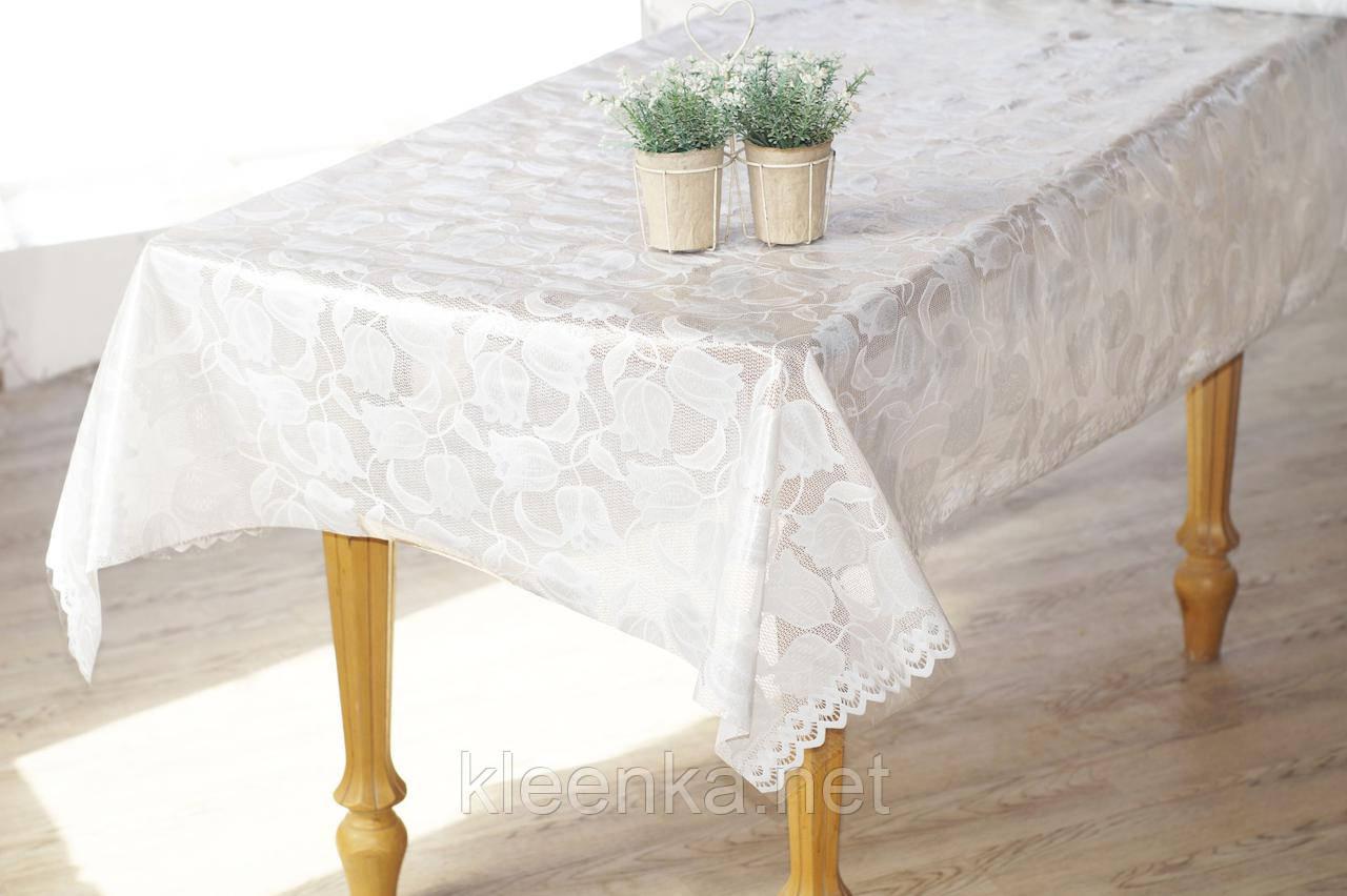 Клеенка Ажурная на праздничный стол, высокое качество! Нежные тюльпаны