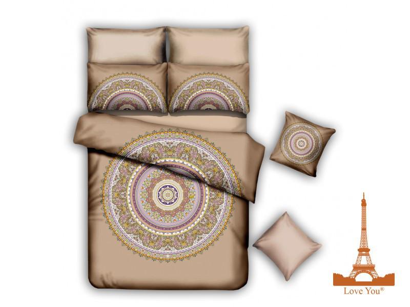 Комплект постельного белья Евро Love you полисатин, 6 предметов, qy 928