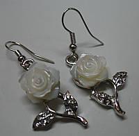 Серьги с перламутром белая роза LadyStyle.Biz, фото 1