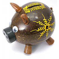 "Копилка ""Свинка"" кокосовая (14х15х10 см) ( 29677)"
