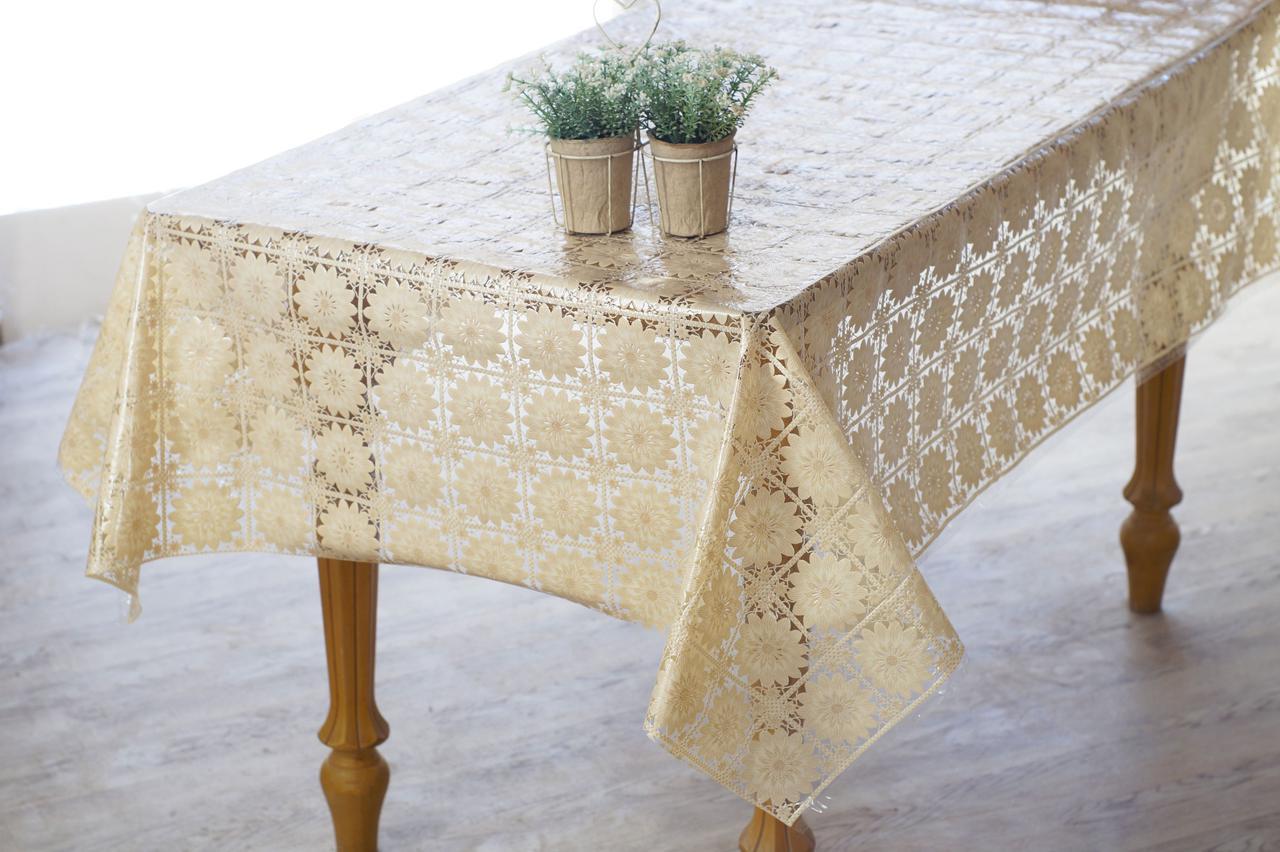 Клеенчатая скатерть на обеденный стол  Ажур в бежевом цвете