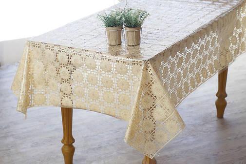 Клеенчатая скатерть на обеденный стол  Ажур в бежевом цвете, фото 2