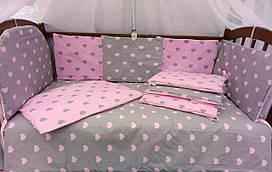 Комплект постельного белья Эко серо-розовые сердечки