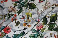Белый фон.Ткань супер софт поляна №30, фото 1