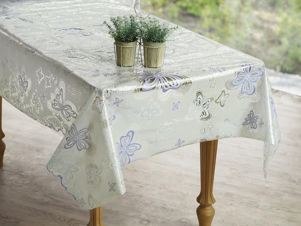 Скатерть клеенчатая на стол Ажур Лейс в бабочки