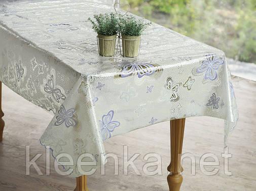 Скатерть клеенчатая на стол Ажур Лейс в бабочки, фото 2
