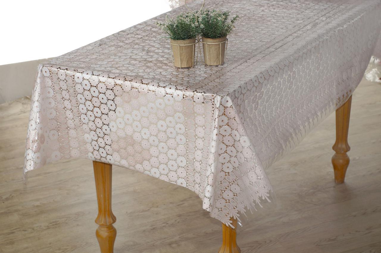 Клеенчатая скатерть на кухонный стол  Ажур