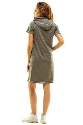 Платье 409 с капюшоном темно-серое, фото 2