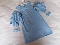 Платье для девочки на 8-12 лет голубого цвета с колье оптом