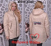 Демисезонная женская куртка с нашивкой большого размера Производитель  Украина прямые поставки фабрики р.50- bdb62ff21e8