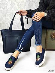 Слипоны джинс декор ананас 36 И 39 размеры